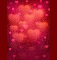 heart background with blurred bokeh hearts vector image vector image