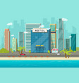 hotel near sea or ocean resort view vector image vector image