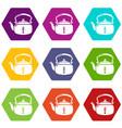 kettle break icons set 9 vector image vector image