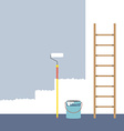 Ladder Paint Roller And Paint Bucket Home vector image vector image