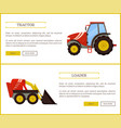 loader bulldozer and tractor vector image vector image
