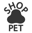 logo of the pet shop paw track print vector image