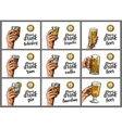 Male hand holding a glasses with alcohol drinks vector image vector image