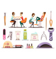 manicure icons set vector image vector image