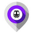 map pin train symbol gps pointer folded from gray vector image