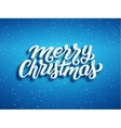 Merry Christmas 3D text on blue background vector image