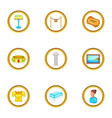 museum icons set cartoon style vector image vector image