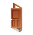 open wood door icon isometric style vector image vector image