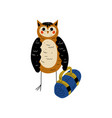 owl with bag bird character having hiking vector image vector image