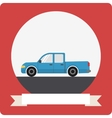 Pickup truck icon with round frame vector image vector image