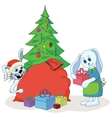 Rabbits and Christmas tree vector image