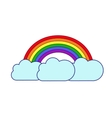 rainbow and clouds on white background vector image vector image