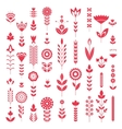 red flower set pattern vector image vector image