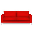 red sofa isolated white background vector image