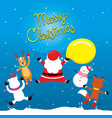 santa claus reindeer snowman and friend jumping vector image vector image