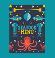 seafood menu cover fish vector image