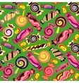 Seamless background with various candies vector image vector image