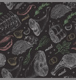 seamless pattern with different meat products vector image vector image