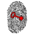 Security concept with fingerprint and key vector image