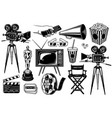 set cinema objects vector image vector image