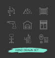 set of interior design icons line style symbols vector image vector image