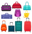set travel suitcases and bags vector image