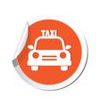 taxi car icon orange sticker vector image vector image