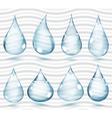 Transparent pale blue drops vector image vector image