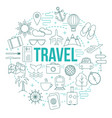 travel template with modern thin line elements vector image