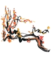 Watercolor and ink of blossoming vector image