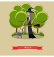 Witch with broom walking her cat in a park Happy vector image vector image