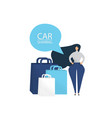 women with shopping bags car sharing for shopping vector image vector image