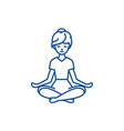 yoga woman line icon concept yoga woman flat vector image vector image