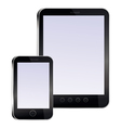 tablet pc and mobile phone with empty screens vector image