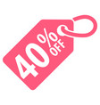 40 percent off tag vector image