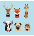 animal hipster style icon set vector image