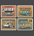 auto service rarity car repair retro posters vector image vector image