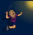 badminton player lion in human body jumping to vector image vector image