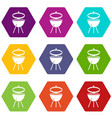 barbecue icon set color hexahedron vector image vector image