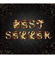 best seller gold sign on black background vector image vector image