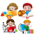 boy and girl with school equipments vector image