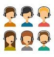 Call Center Operator with Headset Icon Set vector image vector image
