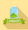 cannabis glass jar logo flat style vector image vector image