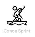 canoe sprint sport icons vector image vector image