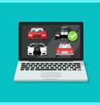 car auto auction online on laptop computer or pc vector image