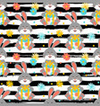 cartoon bunny pattern cute rabbit holds a gift vector image vector image