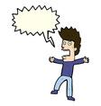 cartoon terrified man with speech bubble vector image vector image