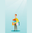 caucasian man holding shopping bags and gift boxes vector image vector image