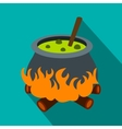 Cauldron with green potion flat icon vector image vector image