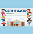certificate template with kids and school building vector image vector image